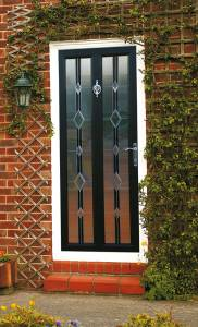Tricept UPVC Entrance Door - Coloured Woodgrain - Black