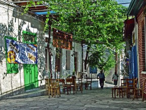 Alley with grapevine-covered pergola in the centre of Koilani village, Cyprus